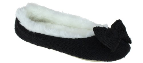 Cheap Capelli New York Knit Ballet With Knit Bow Trim Ladies Indoor Slippers (B00937MUQI)