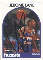 Jerome Lane Denver Nuggets 1989 Hoops Autographed Hand Signed Trading Card - Rookie... by Hall+of+Fame+Memorabilia
