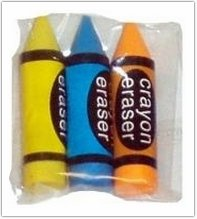 Crayon Shaped Erasers - 1 Pack of 3 (Assorted Colours)