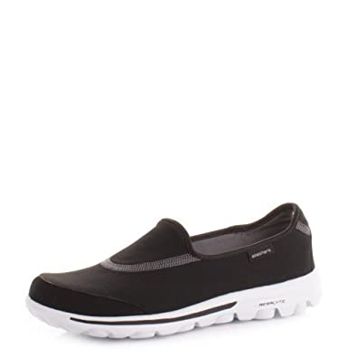 Womens Skechers go Walk 2 Black White Comfort Shoe SIZE 3