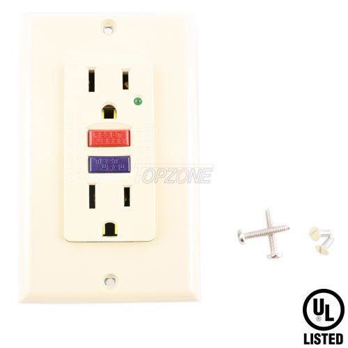 Topzone Ground Fault Circuit Interrupter (GFCI) electric Wall outlets, Ivory Color
