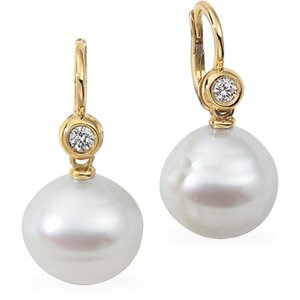 18k Gold S. Sea Cult. Pearl Rough Diamond Earring 14mm Fine Circle - JewelryWeb