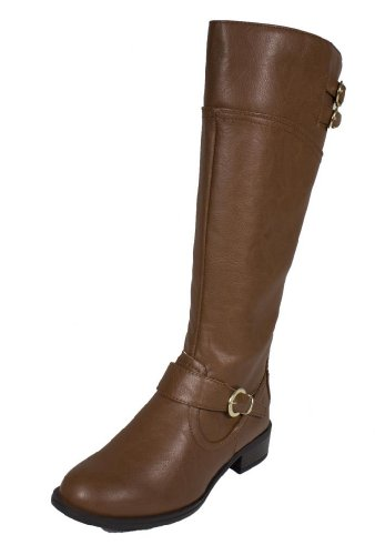Golf! By Soda Tall Mid-Calf Riding Boot With Buckles In Distressed Style, Tan Leatherette, 7 M
