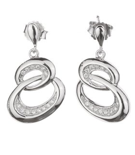 C.Z. (.925) S/S Double Circle Micro Setting Earrings (Nice Holiday Gift, Special Black Firday Sale)