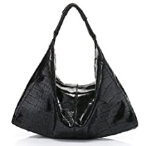 Vicenzo Alyssa Black Long Italian Leather Hobo Handbag
