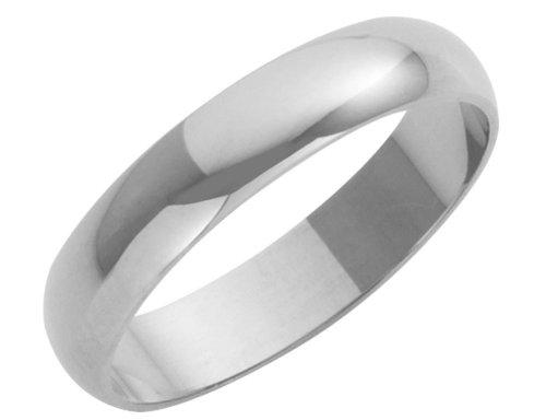 Wedding Ring, 9 Carat White Gold Heavy D Shape,