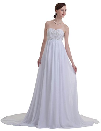 A-Plum Ivory Chiffon Maternity For Pregnant Bride Wedding Dress 26W