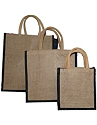 JO'S Jute Bag For Grocery,Shopping,Lunch Bag,Gift Bag ,Multi Purpose Bag (Small,Medium & Large) (Black)