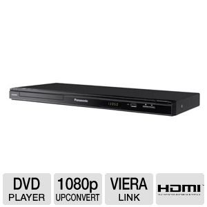 Panasonic Slim 1.5 Inch DVD Player with HDMI 1080P DVD Upconversion, Features Multi-Format Disc Playback and Deep Color Support, with Progressive Scan, Supports USB Playback and Recording, and is VIERA Link Compatible, BONUS Remote Included