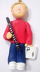 Male Blond Hair Clarinet Player Personalized Ornament