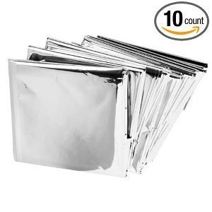 Emergency Mylar Thermal Blankets (Pack Of 10) Rescue Blanket Provides Compact Emergency Protection In All Weather Condition Made Of Durable Insulation Myalr Material Retains/Reflects 90% Of Body Heat