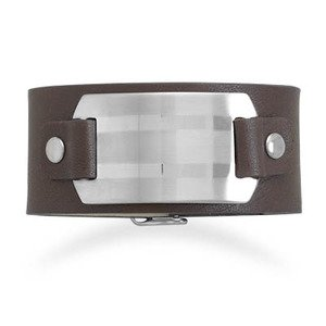 Men's Wide Saddle Brown Leather Bracelet with 316L Stainless Steel ID Plate