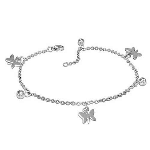 Sexy Polished Ball & Butterfly Anklet Ankle Bracelet Stainless Steel