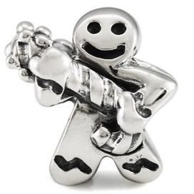 Rock n' Roll Gingerbread Boy 925 Sterling Silver Authentic Ohm Christmas Charm Bead fits European Charm Bracelet