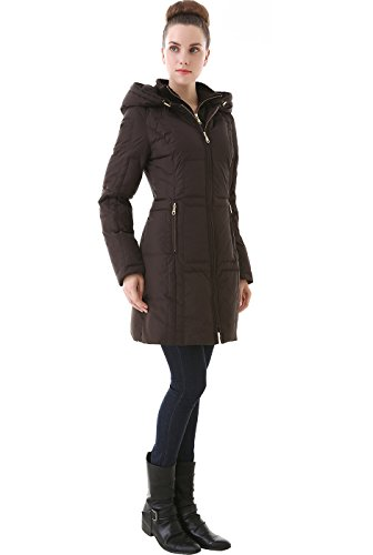 Jessie G. Women's Water Resistant Hooded Puffer Down Coat - Brown S