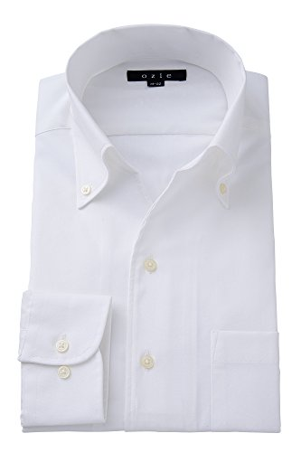 (オジエ) ozie【ワイシャツ・カッターシャツ】長袖・細身スリムタイトフィット・プレミアムコットン超長綿スーピマ綿・綿100%形態安定・オックスフォードシャツ・スキッパー(第一ボタン無し)・イタリアンカラー・ボタンダウン・無地 ホワイト白シャツ