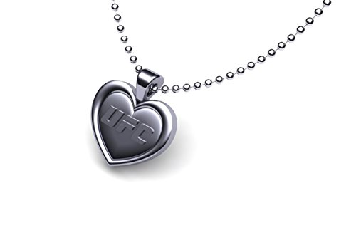 """Ufc Women'S Pewter Heart Pendant On Stainless Steel Bead Chain 30"""""""