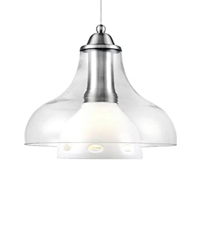 Lite Source Opal Light Pendant, Polished Steel/Clear/White/Frosted