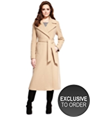 Petite Wool Blend Long Belted Wrap Coat with Cashmere