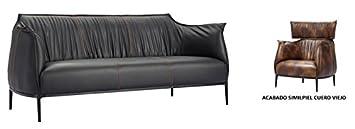 HOGAR DECORA - Sofa 3 plazas simil piel cuero viejo y estruc metal y madera