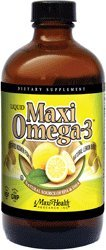 Maxi Health Kosher Liquid Maxi Omega-3 Fish Oil Natural Lemon Burst Buy 1 Get 1 Free 8 Oz