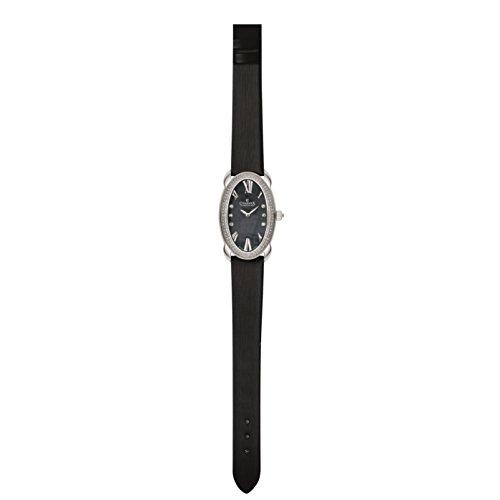 Charmex Tuscany Femme Noir Cuir Bracelet Acier Inoxydable Boitier Montre 6262