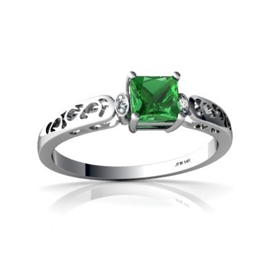 Created Emerald 14ct White Gold Filligree Ring