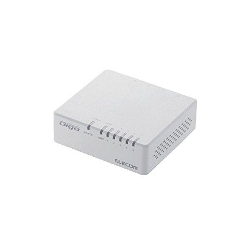 ELECOM Giga対応スイッチングHub 5ポート プラスチック筐体 磁石付き 電源外付モデル ホワイト EHC-G05PA-JW-K