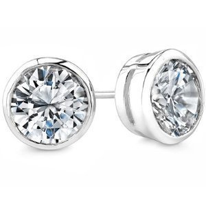 Round Cut Cubic Zirconia Bezel .925 Silver Basket Set Men Unisex Stud Earrings (1.25ct. 7mm)