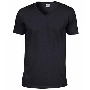 Gildan Mens Soft Style V-Neck Short Sleeve T-Shirt (S) (Black)