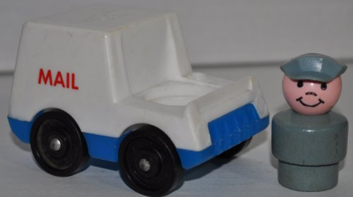 Vintage Little People Mail Man & Mail Truck (Gray Plastic Hat & Gray Wooden Base) (Peg Style) - Replacement Figure - Classic Fisher Price Collectible Figures - Loose Out Of Package & Print (Oop) - Zoo Circus Ark Pet Castle