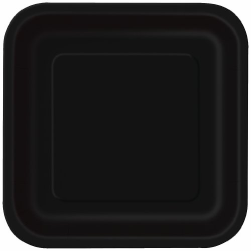 Square Black Cake Plates, 6 7/8 in., 16ct