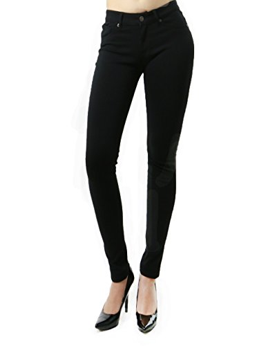 Classic Fashion Skinny Jean Collection For Women In Solid Colors (Large, Black-Spc99)
