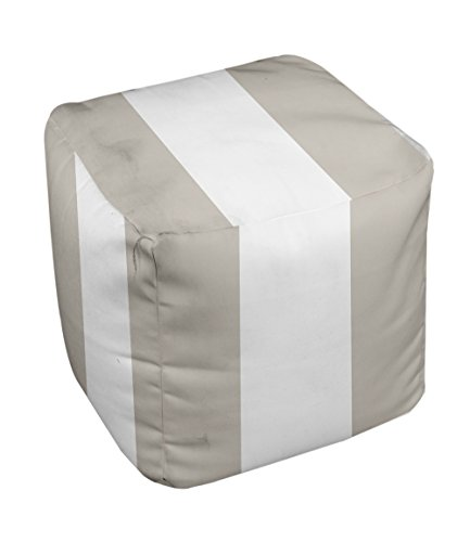 E by design Stripe Pouf, 13-Inch, 3Oatmeal - 1