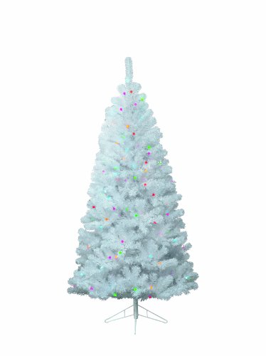 Kaemingk 671861 White Spruce - Fichte mit weißen Softnadel PVC, innen, Innentrafo, 192 bunte LED, Höhe 180 cm thumbnail