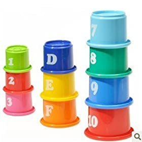 Big Dragonfly Children's Educational Toys a Set of 10 Fun and Colorful Stacking Cups Safe and Interesting Baby Learning Toy (Pakage in Chinese)