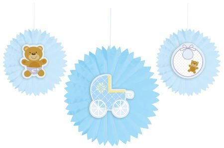 """Set Of 36 Teddy Baby Blue Tissue Paper Fans With Attachments Party Decorations 12"""" front-731775"""