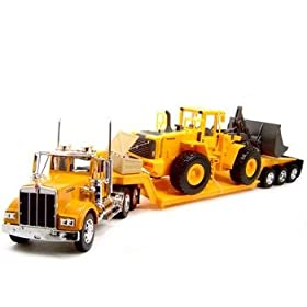 diecast car: 1:32 Kenworth W900 Construction Truck Trailer Diecast