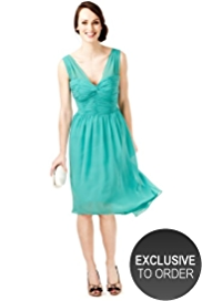 M&S Collection Deep V-Neck Ruched Bodice Chiffon Dress