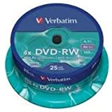Verbatim 43639 4.7GB DVD-RW - Spindle 25 Pack