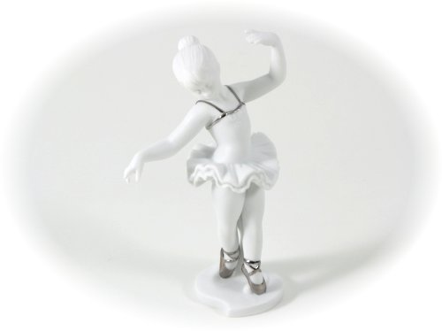 Bomboniera solidale cuorematto ballerina h14 biscuit platino porcellana. 14 cm