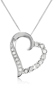 """10k White Gold Round-Shaped Diamond Heart-Pendant Necklace (1/10 cttw), 18"""" by Amazon Curated Collection"""