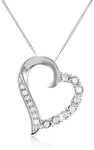 10k White Gold Round Shaped Diamond Heart Pendant Necklace (1/10 cttw, I-J Color, I1-I2 Clarity), 18