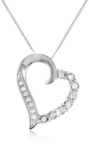 10k White Gold Round Shaped Diamond Heart Pendant Necklace (1/10 cttw, I-J Color, I1-I2 Clarity), 18
