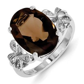 Genuine IceCarats Designer Jewelry Gift Sterling Silver Rhodium Smokey Quartz Diamond Ring Size 8.00
