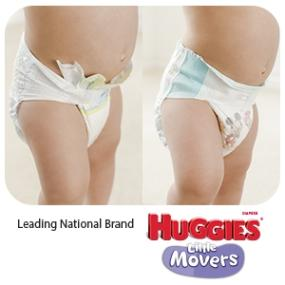 Huggies Little Movers offer a snug fit and leak lock for protection over time