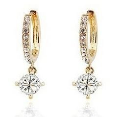 Laskey Swarovski Elements Ladies Gold Loop Earrings