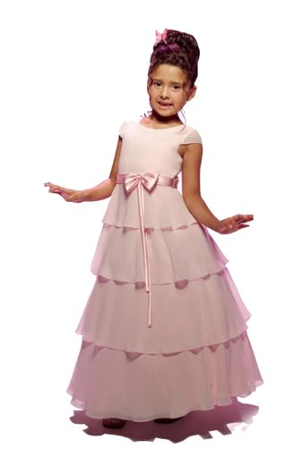 Ball Gown Small Round Collar Floor-Length Flower Girl Dress Satin/ Organza 6