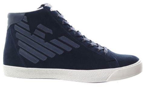 EA7 Emporio Armani New Pride sneakers alte blu con logo catarinfrangente grigio uomo -43