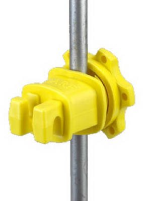 Dare Products Western-Rp-25 Electric Fence Insulator, Western, Round & Fiberglass T-Post, Screw-Tight, Yel - Quantity 20